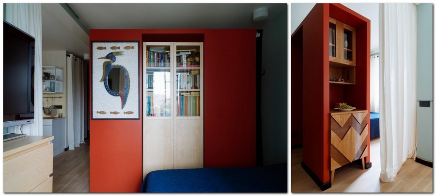 4-bachelor's-interior-design-open-concept-room-light-blue-walls-yellow-red-accents-plasterboard-structure-geometrical-curved-doors-of-cabinet-cupboard-bookstand-bookcase-TV
