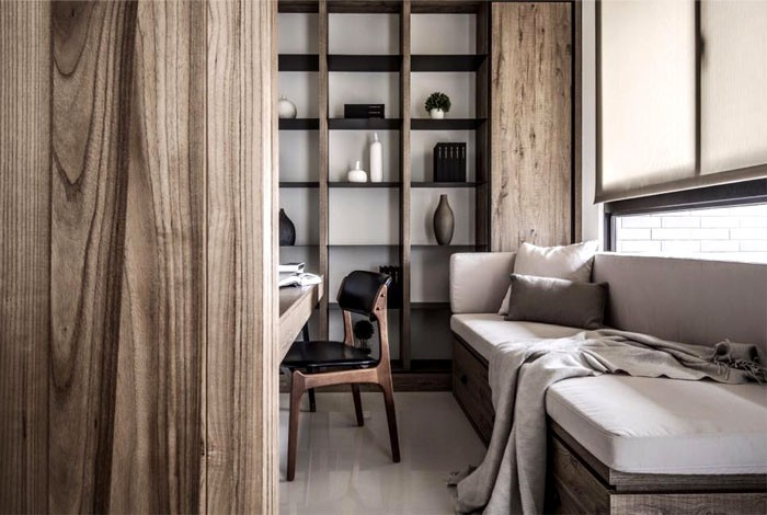 4-contemporary-minimalist-naturalistic-style-interior-design-white-glossy-floor-gray-black-accents-wooden-panels-wood-grain-reading-corner-sofa-study-shelves