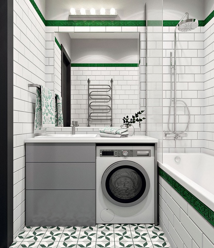 4-contemporary-style-bathroom-interior-design-green-and-white-brick-tiles-bathtub-tropical-shower-gray-minimalist-wash-basin-cabinet-washing-machine