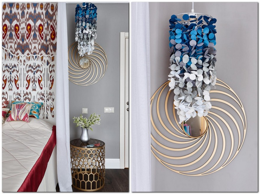 4-contemporary-style-bedroom-interior-with-oriental-Central-Asian-Uzbek-motifs-canopy-bed-ikat-pattern-wallpaper-white-red-gray-blue-accents-pomegranate-handmade-designer-felt-circles-lamp-with-gradient-ombre-effect