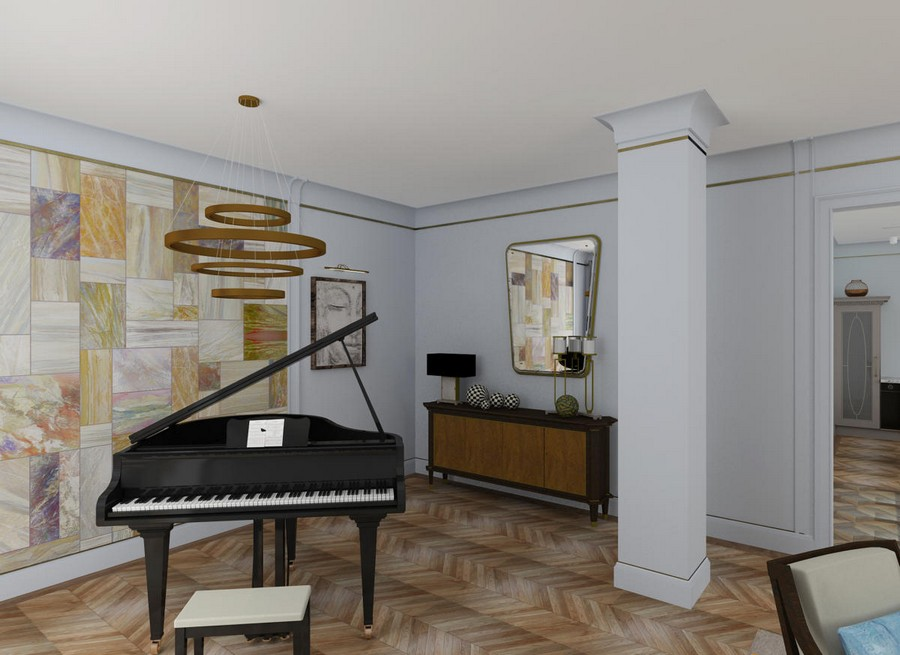 4-gray-blue-contemporary-style-interior-design-art-deco-elements-brown-living-room-column-chandelier-wall-mural-piano-console-mirror
