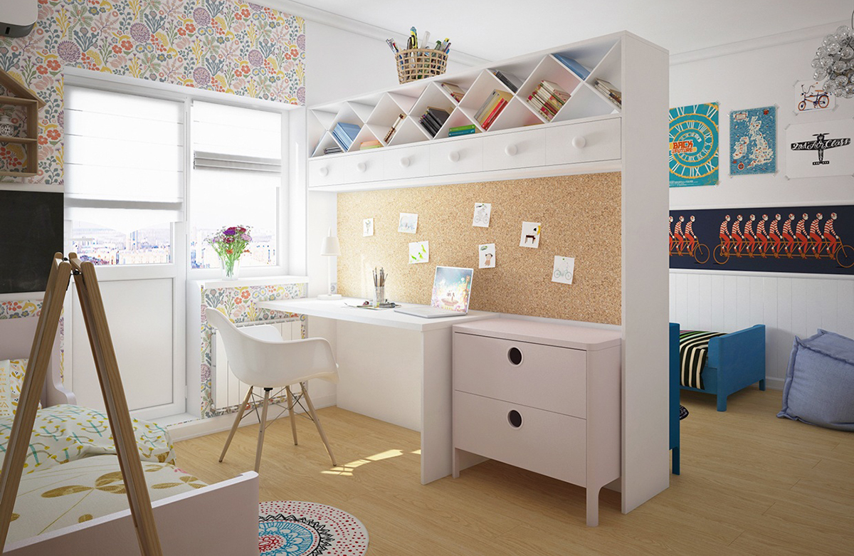 4-kids-children-toddler-room-interior-design-mixed-gender-boy-and-girl-shared-white-work-area-desk-corkwood-board-panel-book-shelves-floral-wallpaper-divider-partition-aisle-double-sided-work-station