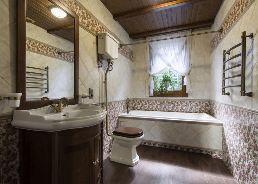 5-1-bathroom-interior-beige-brown-pink-floral-wall-tiles-retro-toilet-bowl-bathtub-wash-basin-cabinet-wooden-ceiling-beams-crisscross-sheer-curtains