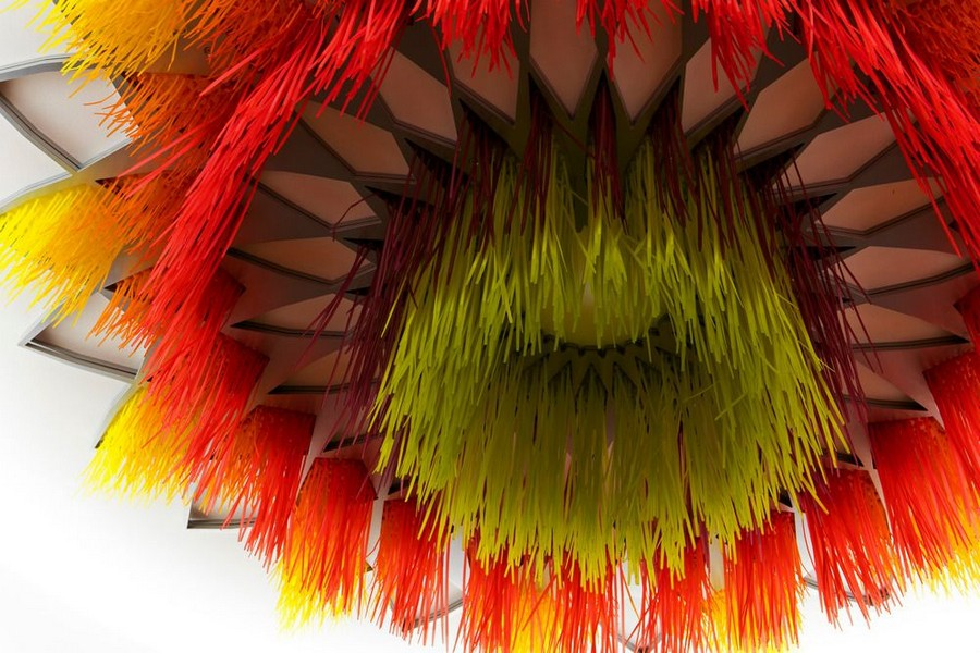 5-Sous-le-grand-arbre-racine-feuille-et-fleur-by-Elisabeth-Picard-CHSLD-Canada-flower-shaped-art-installation-ceiling-decor-gradient-ombre-effect-plastic-metal-aluminum-LED-lights-green-yellow-orange