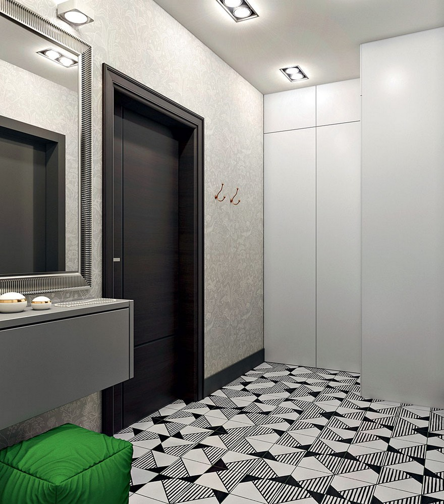5-contemporary-style-entry-room-interior-design-white-gray-and-black-walls-floor-tiles-green-accent-padded-stool-corner-closet-suspended-cabinet