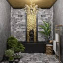 5-dark-black-and-gray-bathroom-interior-design-contemporary-style-art-deco-furniture-golden-ceiling-wall-recess-mosaic-floral-pattern-marble-tiles-potted-plants-towel-drying-radiator-bathtub-statue