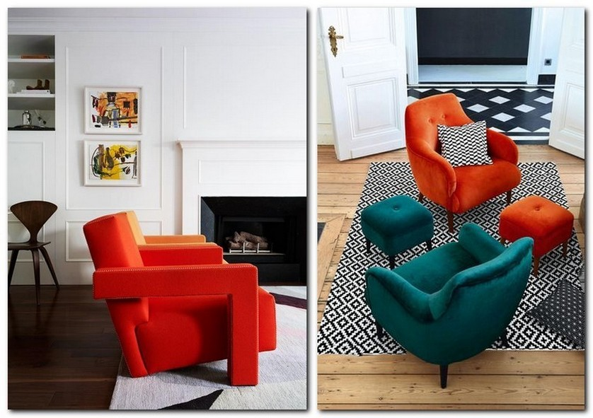 5-flame-red-color-by-Pantone-2017-in-interior-design-furniture-arm-chairs-living-room-white-walls