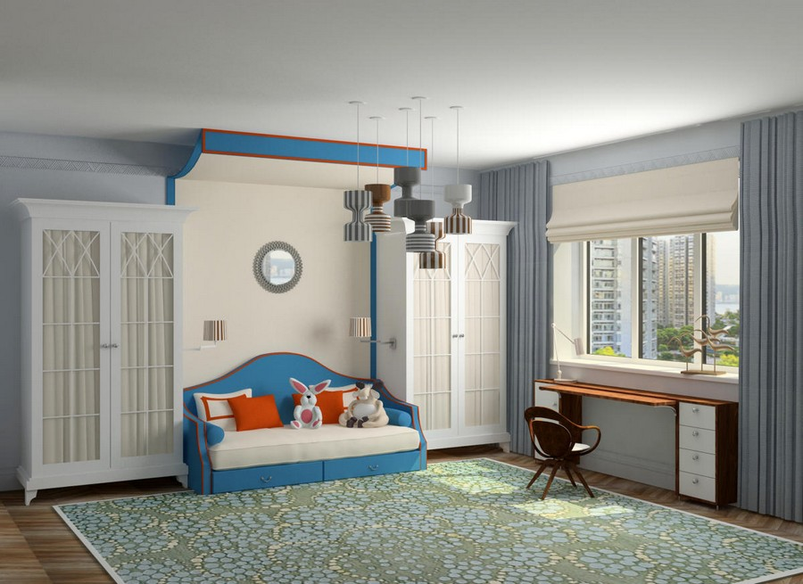 5-gray-blue-contemporary-style-interior-design-art-deco-elements-kid's-bedroom-girl's-room-wardrobes-with-glass-doors-folding-sofa-red-accents-desk-roman-blinds-curtains-group-of-lamps