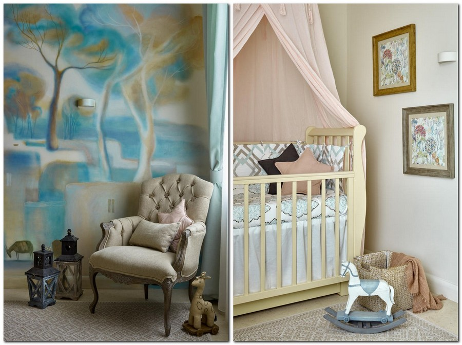 5-neo-classical-style-baby's-girl's-room-bedroom-interior-with-ethnic-motifs-Central-Asian-Uzbek-Portuguese-powder-pink-blue-mint-beige-colors-cuddle-canopy-bed-arm-chair-wall-wash-drawing-ombre-effect