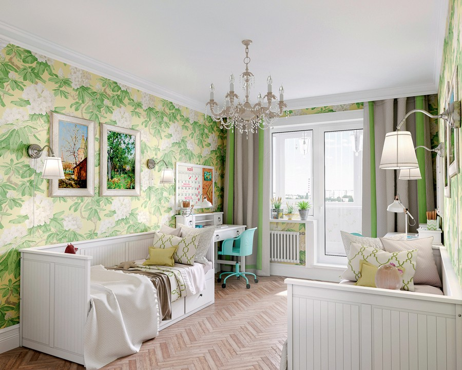 6-1-Provence-style-toddler-kids-room-bedroom-interior-design-white-walls-floral-motifs-pattern-green-and-yellow-wallpaper-white-furniture-symmetrical-design-layout-beds-wall-lamps-desks-balcony-exit-chandelier