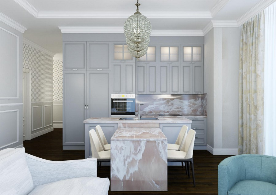 6-1-beautiful-creative-kitchen-backsplash-ideas-English-style-pale-pink-onyx-stone-dining-table-island-countertop-light-blue-cabinets-open-concept-living-room-Victorian-baseboard-interior-design