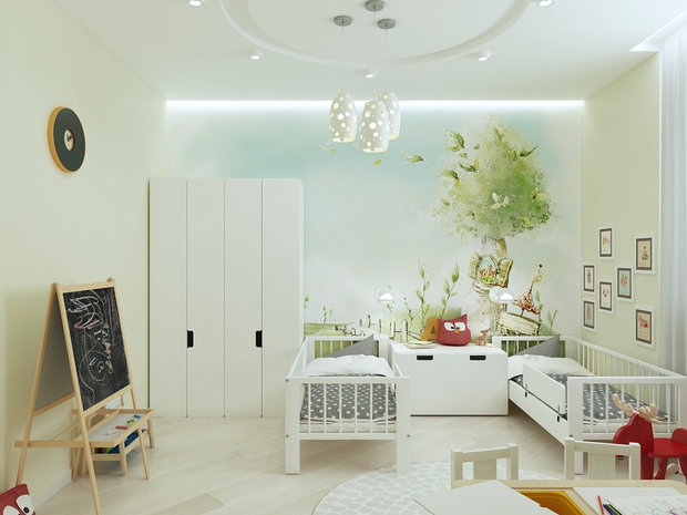6-1-contemporary-style-interior-design-white-beige-gray-kid's-room-IKEA-furniture-two-beds-wardrobe-console-wall-mural-rocking-horse-toys-aisel