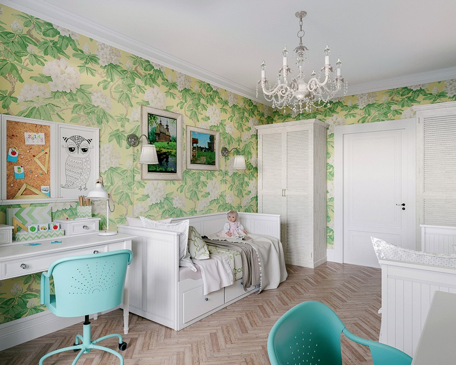 6-2-Provence-style-toddler-kids-room-bedroom-interior-design-white-walls-floral-motifs-pattern-green-and-yellow-wallpaper-white-furniture-symmetrical-design-layout-beds-wall-lamps-desks-wardrobes-shutter-doors