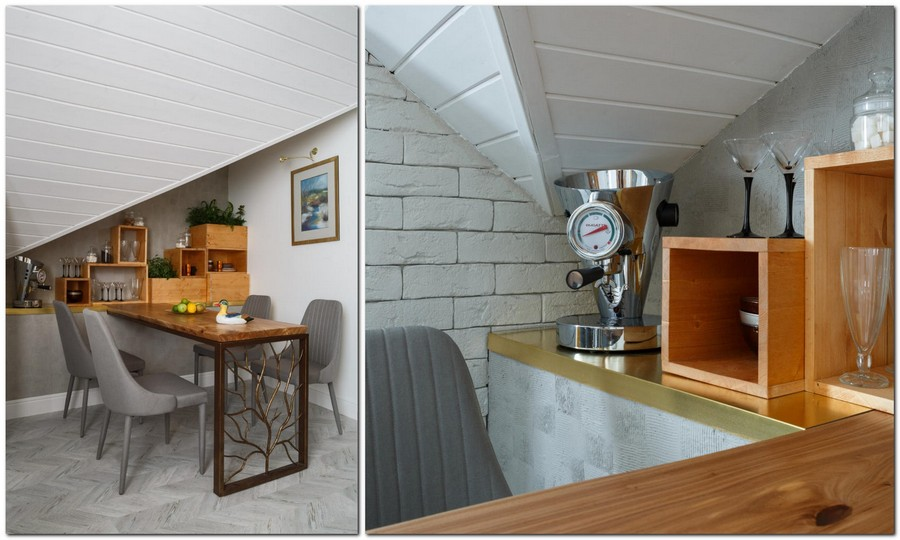 6-2-contemporary-style-attic-interior-metal-forged-dining-table-sloped-ceiling-white-walls-gray-chairs-living-room-dining-area-naturalistic-corkwood-floor-wooden-shelving-unit-mosular-slab-top