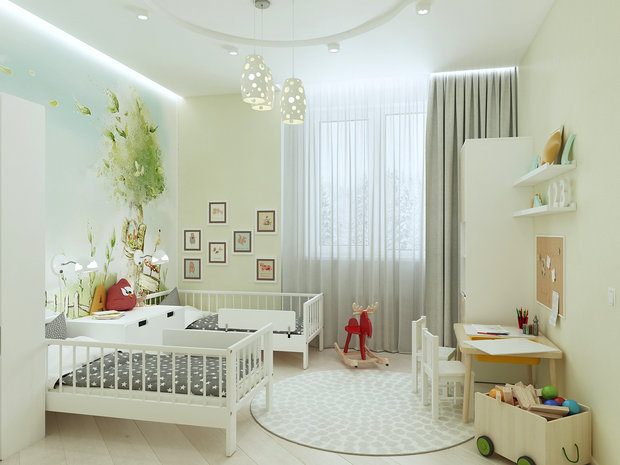 6-2-contemporary-style-interior-design-white-beige-gray-kid's-room-IKEA-furniture-two-beds-wardrobes-console-bookstand-desk-chairs-wall-mural