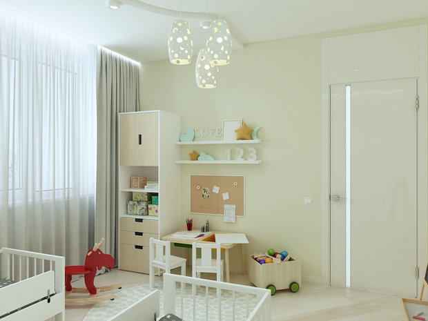 6-3-contemporary-style-interior-design-white-beige-gray-kid's-room-IKEA-furniture-two-beds-bookstand-desk-chairs-rocking-horse-toys