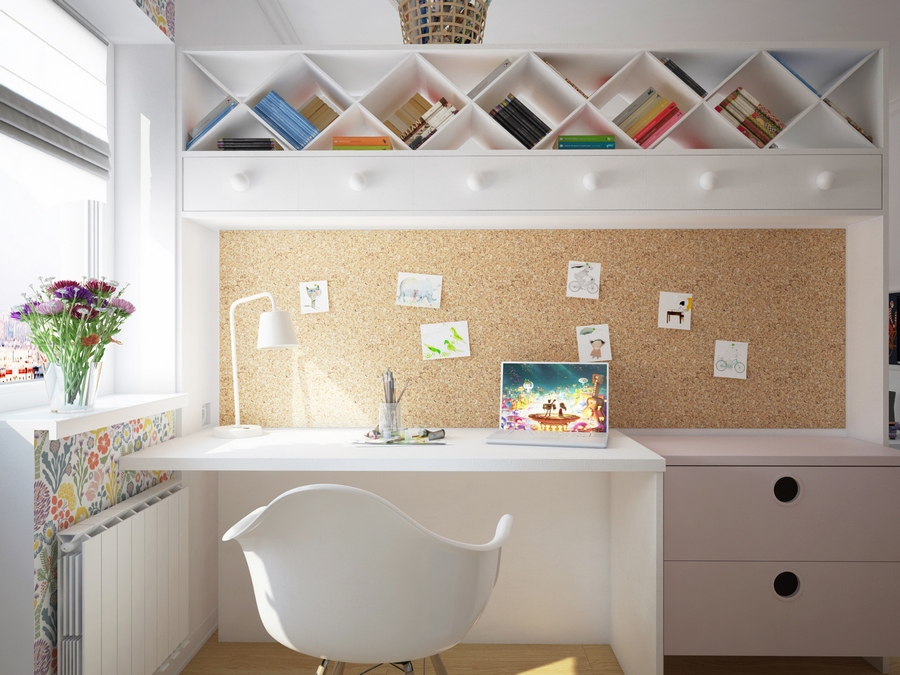 6-kids-children-toddler-room-interior-design-work-area-white-desk-chair-contemporary-style-diamond-shaped-book-shelves-corkwood-panel-wall-inspiration-note-board
