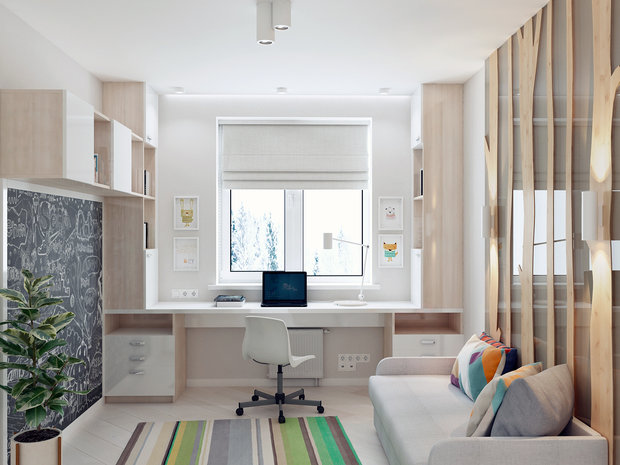 7-1-contemporary-style-interior-design-white-beige-gray-study-work-area-cabinetry-blackboard-desk-3D-wall-decor-wooden-panels-tree-stripy-rug