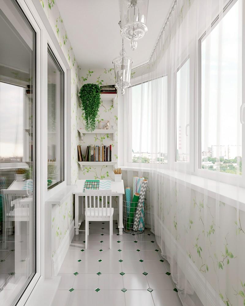 7-Provence-style-balcony-interior-design-white-walls-floral-motifs-pattern-wallpaper-sheer-curtains-geometrical-floor-tiles-desk-reading-corner-creativity-work-area