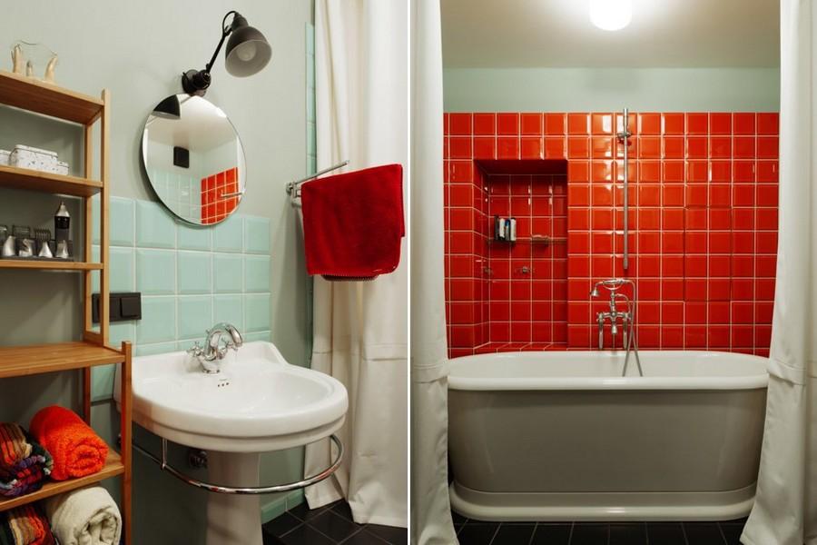7-bachelor's-interior-design-bathroom-light-blue-walls-red-square-tiles-wash-basin-English-bathtub-shelves