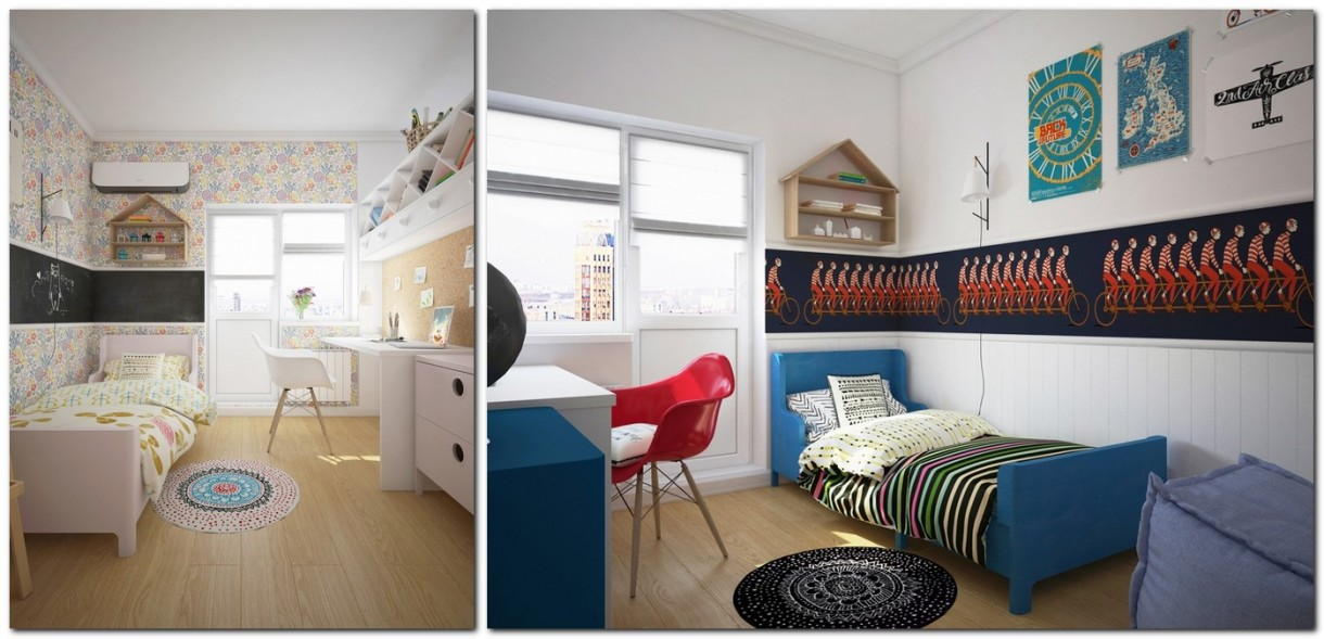 7-kids-children-toddler-room-interior-design-mixed-gender-boy-and-girl-shared-double-sided-work-station-desk-blue-and-red-accents-white-walls-furniture-corkwood-board-panel
