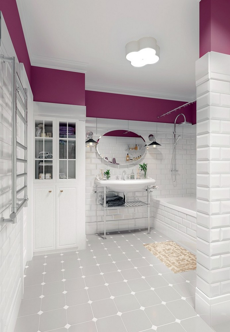 8-Provence-style-bathroom-interior-design-white-wall-tiles-with-beveled-edges-purple-paint-cupboard-concealed-washing-machine-wash-basin-oavl-mirror-retro-shower-head-gray-floor