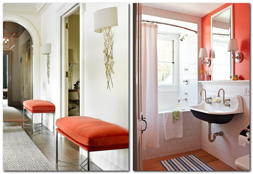 8-flame-red-color-by-Pantone-2017-in-interior-design-padded-stools-white-walls-corridor-accents-wall-bathroom