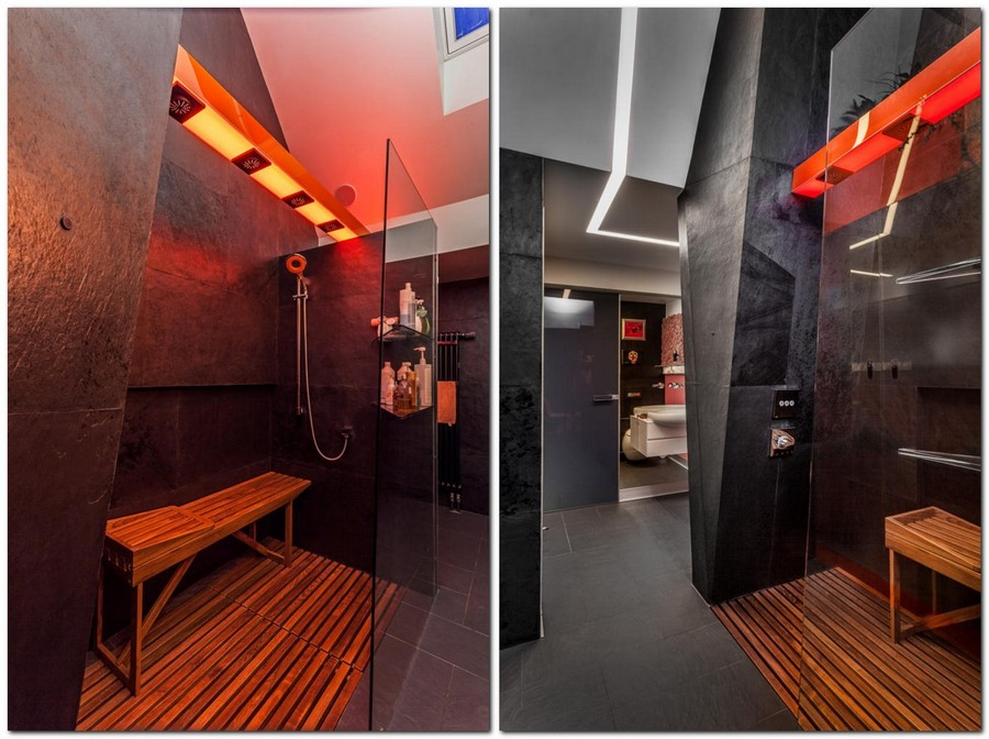 9-1-1-contemporary-style-interior-design-bathroom-shower-cabin-with-teak-wooden-bench-LED-panels-lights-black-walls-orange-accents-glass-wall