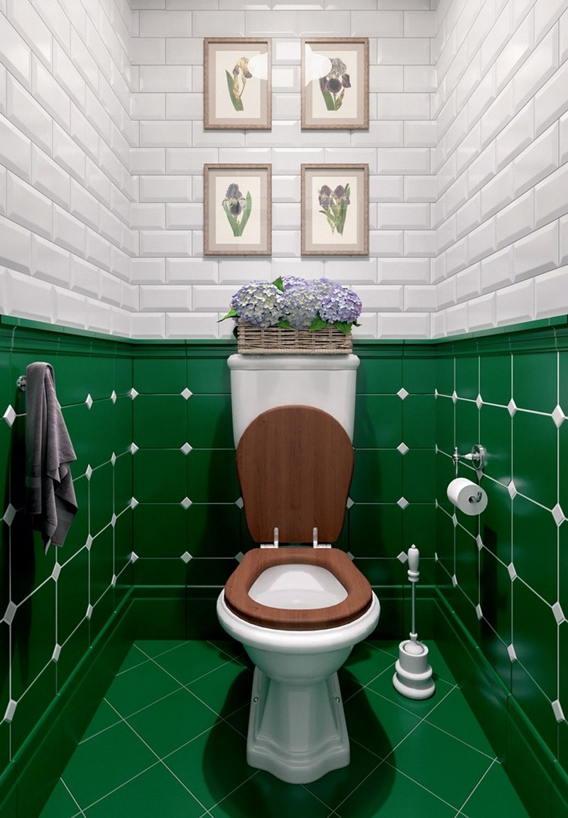 9-Provence-style-toilet-restroom-interior-design-white-wall-tiles-with-beveled-edges-brick-green-geometrical-tiles-lavender-woven-basket-faux-wooden-water-closet-seat-flower-pictures