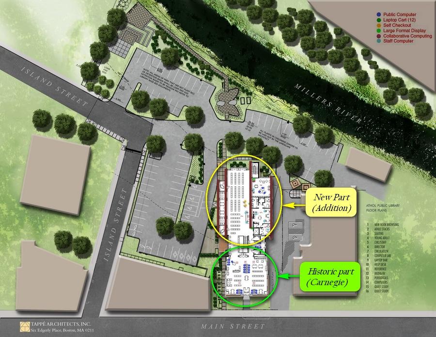 Athol-Massachusetts-USA-public-library-Carnegie-renovation-plan-scheme-upper-view-main-street-millers-river-parking-area
