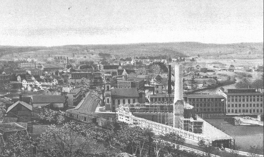 Athol-small-town-Massachusetts-USA-historic-photo-20th-century-black-and-white-main-street-downtown-view-Millers-River-mill-town