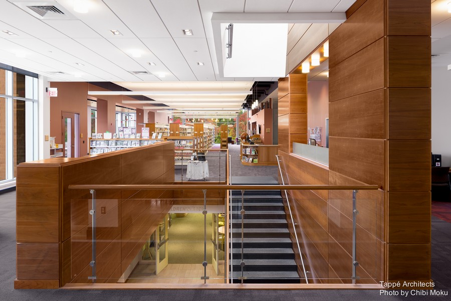 Tappe-Architects-small-town-LEED-platinum-Athol-Public-lbrary-Massachusetts-USA-interior-design-main-reading-hall-panoramic-windows-staircase-glass-railings-cherry-wall