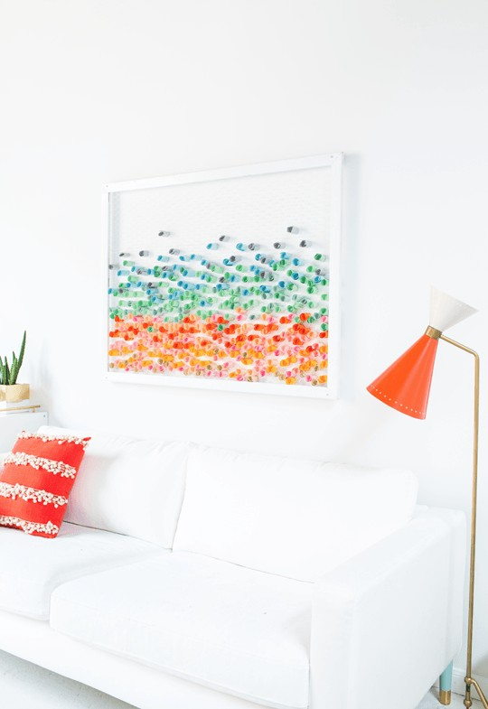 0-DIY-handmade-piece-of-wall-art-picture-colored-craft-paper-rolls-metal-net-with-hexagonal-holes-wooden-frame-multicolor-white-walls