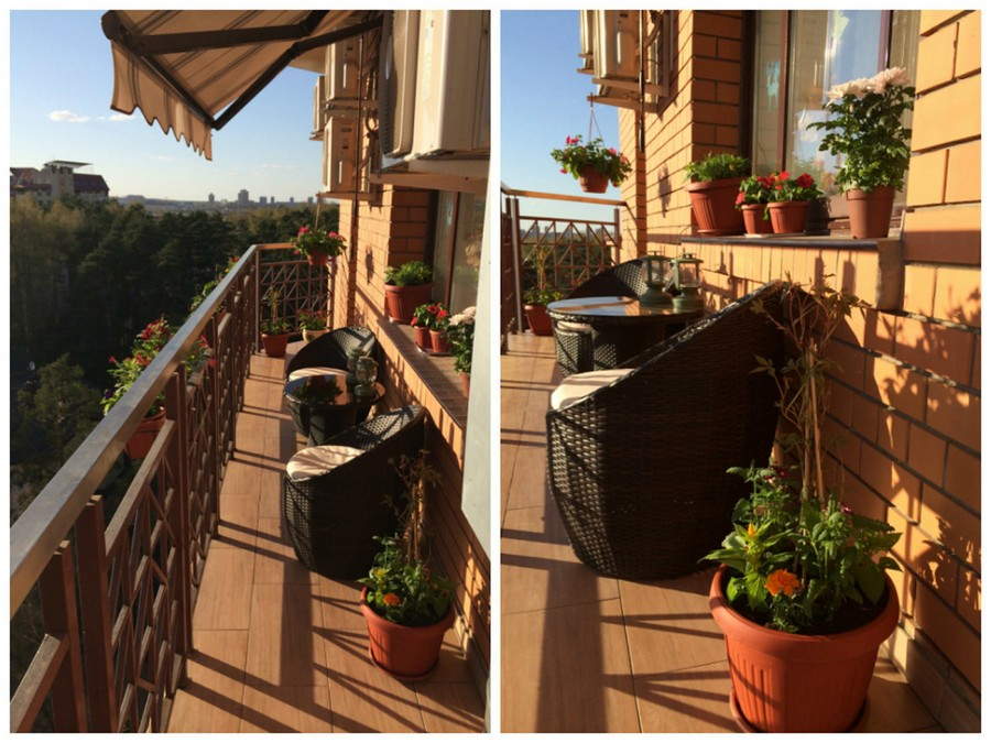 1-brown-open-balcony-interior-exterior-masonry-wall-wicker-furniture-coffee-table-chairs-flower-pots-boxes-mediterranean-style-tiles-sill-sunblind-stripy