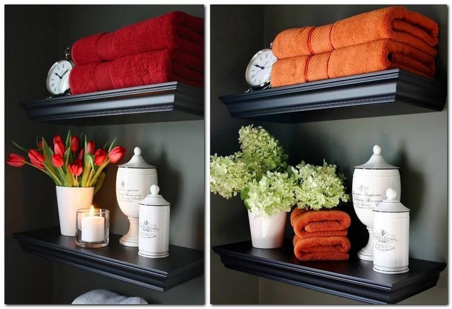 1-cozy-bathroom-decor-shelves-flowers-bath-terry-towels-red-orange-vintage-clock-scented-candle-ceramic-vase