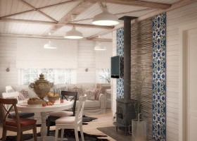 1-neutral-Scandinavian-style-interior-log-timber-house-white-wooden-walls-ceiling-beams-lining-boards-samovar-dining-living-room-cast-iron-stove-table-mismatched-chairs-set-corner-sofa-beige-English-blue-tiles