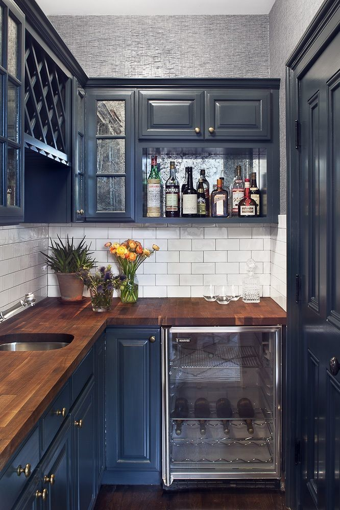 16-small-narrow-tiny-blue-kitchen-cabinets-set-interior-wooden-worktop-countertop-open-racks-shelves-glass-cabinets-wine-storage-refrigerator