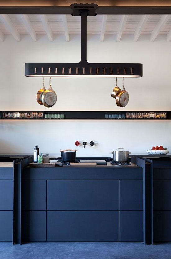 18-long-narrow-horizontal-wall-recess-rack-shelf-storage-ceiling-mounted-pot-pan-holder-organizer-blue-kitchen-cabinets-set-interior-white-walls-push-to-open-base-cabinets