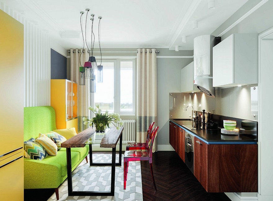 2-2-interior-in-mid-century-modern-style-pop-art-geometrical-motifs-1950s-bright-color-multicolor-kitchen-set-suspended-floating-wall-mounted-base-cabinets-dark-wood-green-sofa-yellow-refrigerator-red-chairs-dining