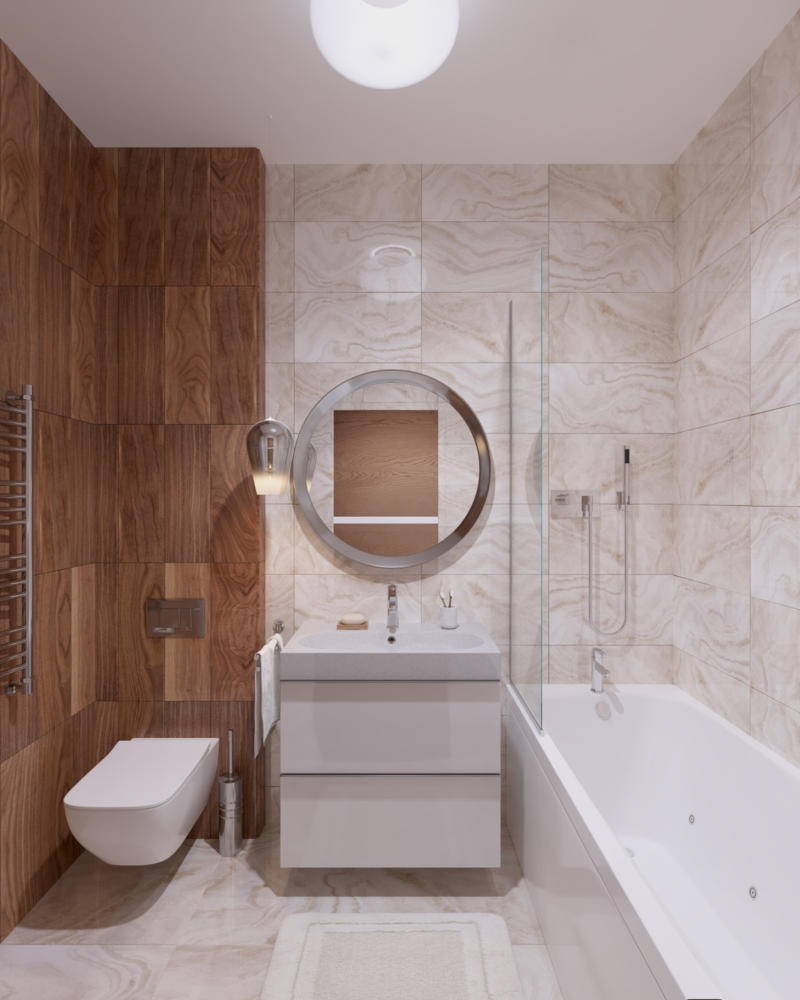 2-beige-brown-white-light-contemporary-style-bathroom-interior-faux-wood-tiles-natural-stone-tiles-suspended-wash-basin-cabinet-wall-mounted-toilet-round-mirror-bathtub-glass-partition-rug