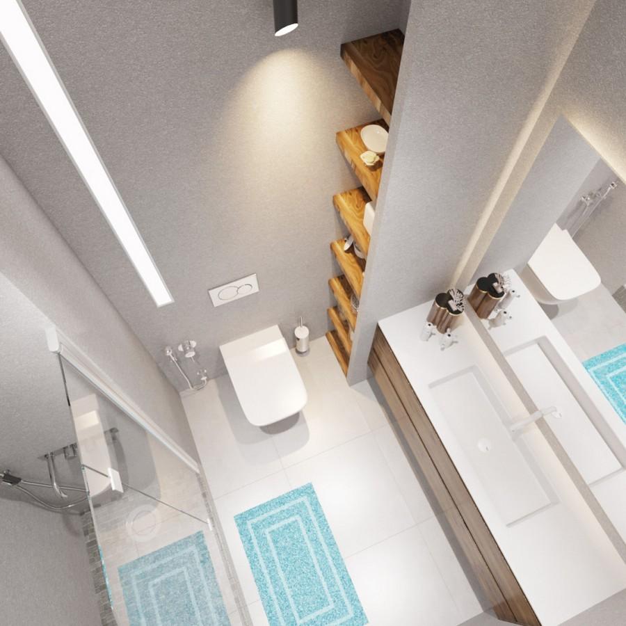2-small-bathroom-interior-design-top-view-shower-cabin-walk-in-glass-big-backlit-mirror-open-wooden-racks-micro-cement-concrete-walls-floor-tiles-ceramic-granite-mosaic-gray-blue-white-wash-basin-toilet-rug