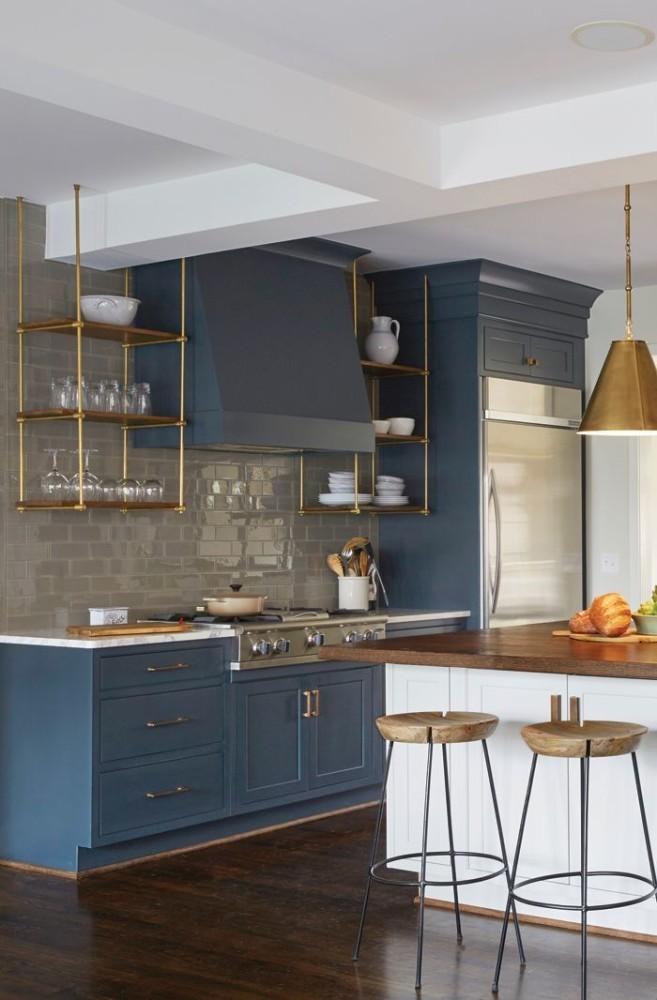 20-matte-brass-yellow-metal-details-fixtures-blue-kitchen-cabinets-set-interior-open-racks-glasses-bar-stools-gray-brick-wall-tiles-backsplash