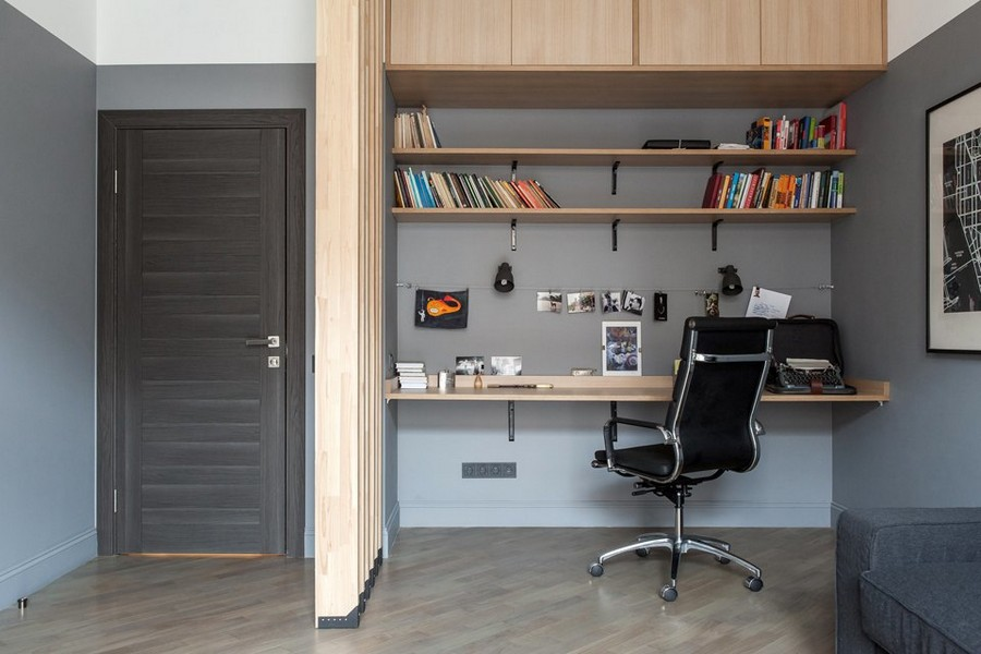 3-1-bachelor's-pad-interior-design-loft-style-brutal-home-office-study-work-area-wooden-planks-partition-ligh-wood-cabinets-wall-recess-gray-black-chair-desk-open-racks-book-shelves
