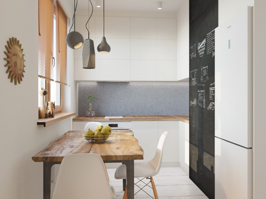 3-1-small-kitchen-interior-design-disguised-air-channel-white-set-cabinets-wooden-worktop-countertop-dining-table-chairs-suspended-lamps-wooden-floor-refrigerator-chalkboard-magnetic-wall-paint-Venetian-blinds-gray