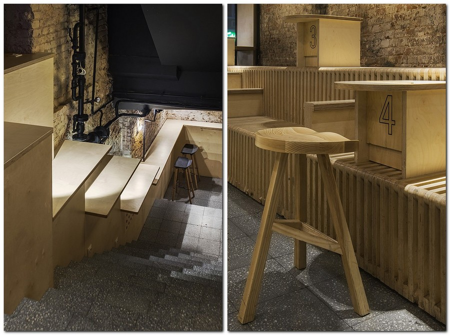 3-2-craft-beer-bar-interior-design-loft-Scandinavian-style-furniture-wooden-stairs-light-ash-wood-bar-stools-tables-benches