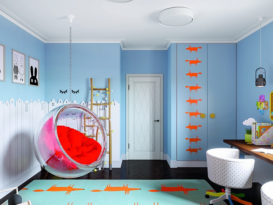 3-2-interior-in-mid-century-modern-style-pop-art-geometrical-motifs-1950s-kids-room-bright-color-multicolor-built-in-closet-fox-motifs-rug-hanging-bubble-chair-red-accents-blue-walls-desk-ladder