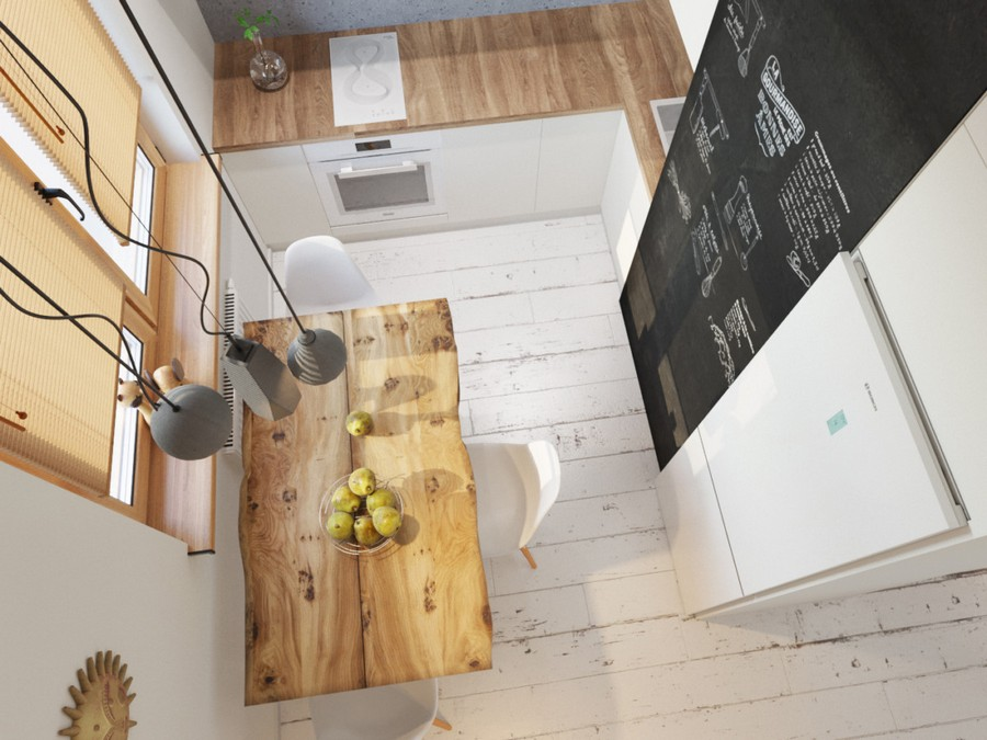 3-2-small-kitchen-interior-design-disguised-air-channel-white-set-cabinets-wooden-worktop-countertop-dining-table-chairs-suspended-lamps-wooden-floor-refrigerator-chalkboard-magnetic-wall-paint-Venetian-blinds