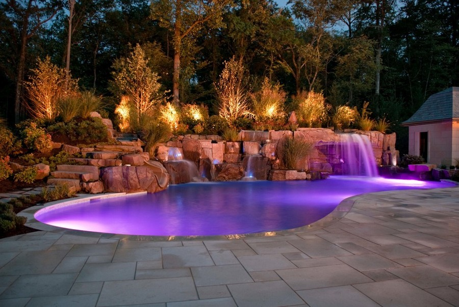 3-8-outdoor-garden-landscape-lighting-ideas-pond-underwater-lights-multicolor-pool-waterfall-violet-blue-purple-water-rocks