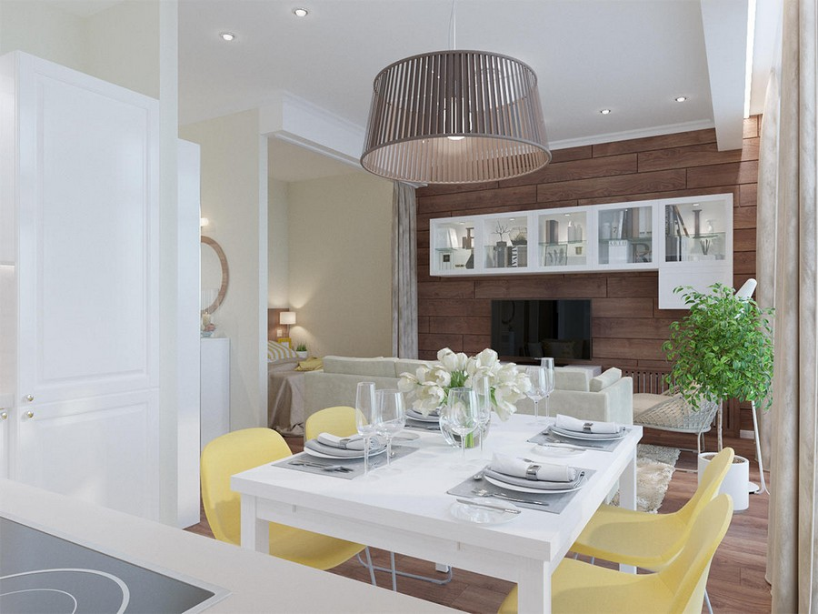 3-white-beige-yellow-light-contemporary-style-studio-apartment-interior-dining-table-chairs-wooden-wall-decor-TV-set-lounge-bed-sleeping-area-glass-cabinets-big-lamp-kitchen-set
