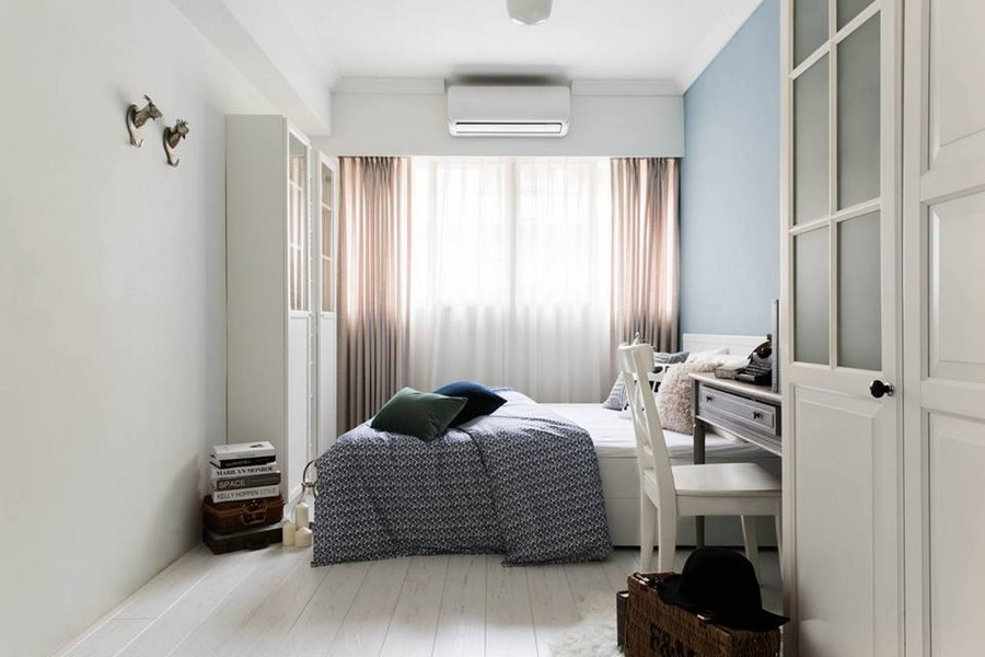 4-2-eclectic-Scandinavian-and-French-style-interior-bedroom-white-pale-pink-curtains-light-blue-wall-white-furniture-big-closet-wardrobe-console-desk-dressing-table-throw-pillows-white-floor-books-pile-stacked